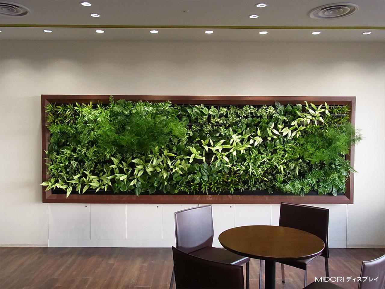 待合スペースへの壁面緑化