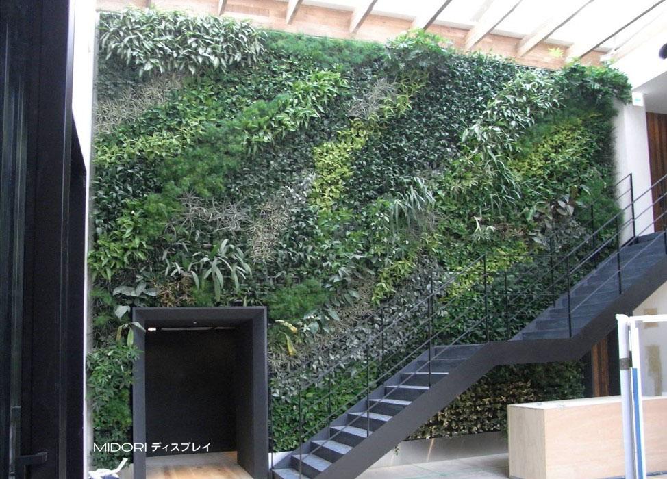 植物の大きさの違いで魅せる壁面緑化